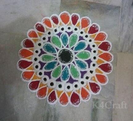 Geometrical Rangoli design for home