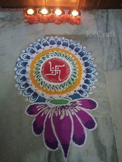 Easy to make circular Rangoli design