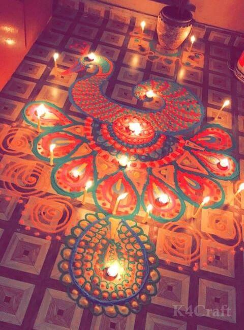 Beautiful Rangoli Designs And Patterns For 2020 Beautiful night time Rangoli design