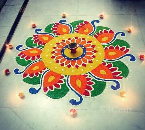 Beautiful Rangoli Designs And Patterns For 2020 Beautiful Rangoli Design with Diyas