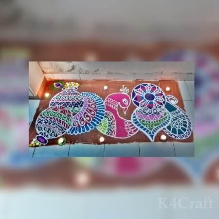 Pretty Peacock rangoli design