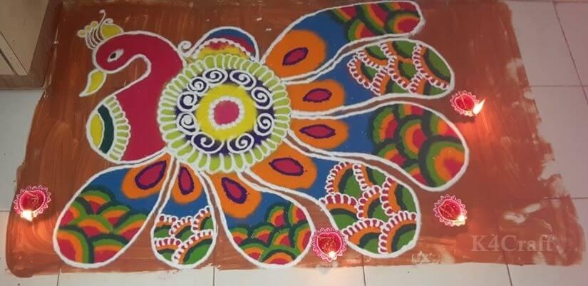 Peacock Rangoli Design for you