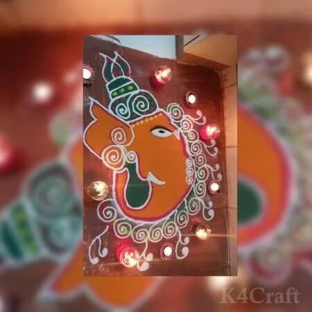Ganesh Ji Rangoli Design with Diyas