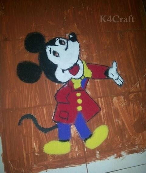 Mickey Mouse Rangoli Design for kids