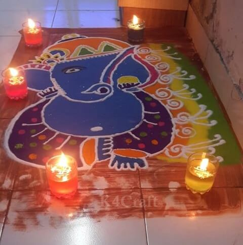 Beautiful Ganesh Ji Rangoli Design