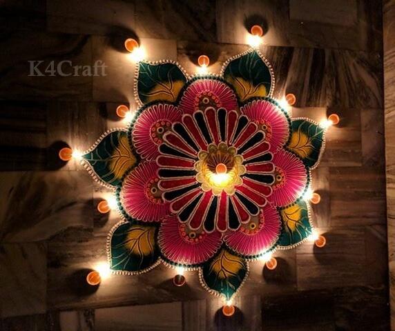 Rangoli Designs which look pretty with diyas