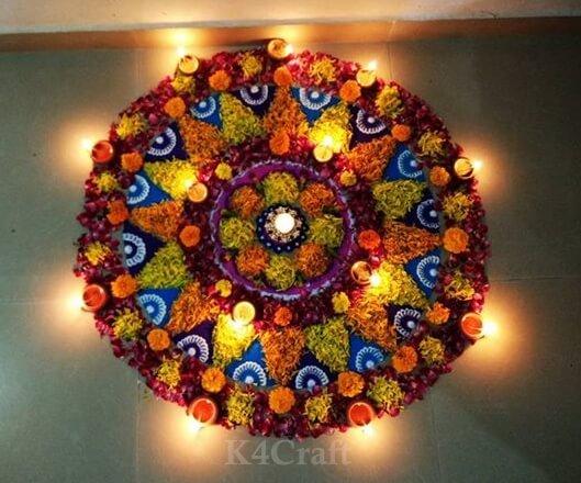 Beautiful Rangoli Made of flowers - Rangoli Designs And Patterns For 2020