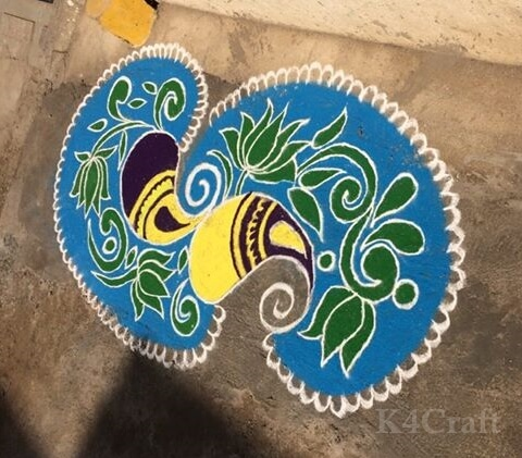 Modern Art based Rangoli Design - Beautiful Rangoli Designs And Patterns For 2020