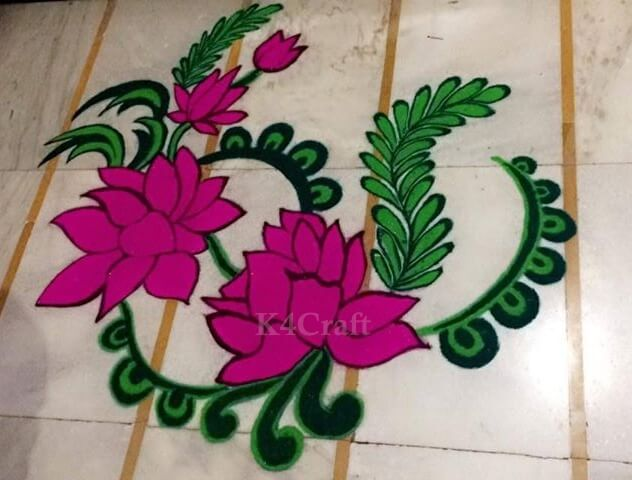 Floral Rangoli Design - Beautiful Rangoli Designs And Patterns For 2020