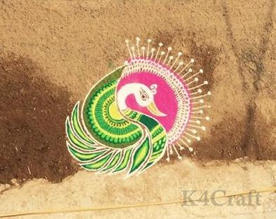 Beautiful peacock design Rangoli design - Beautiful Rangoli Designs And Patterns For 2020