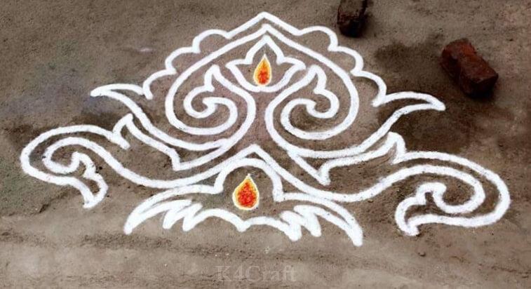 Simplistic White Paint Rangoli design - Beautiful Rangoli Designs And Patterns For 2020