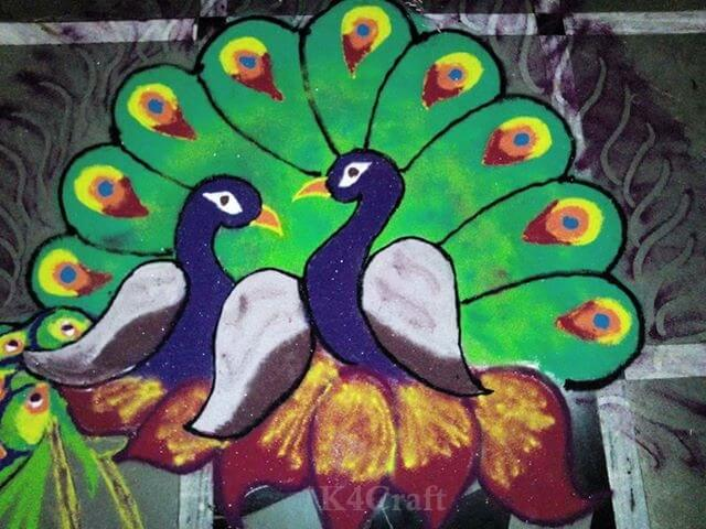 Two peacocks Rangoli Design - Beautiful Rangoli Designs And Patterns For 2020