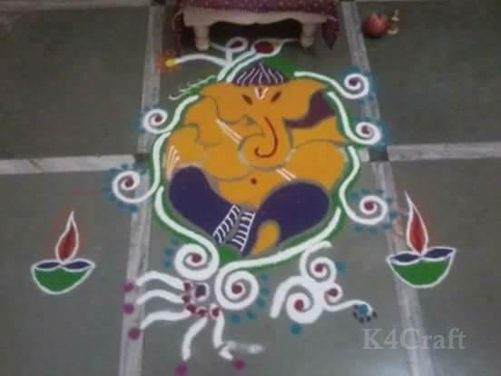 Ganesh Rangoli Design - Beautiful Rangoli Designs And Patterns For 2020