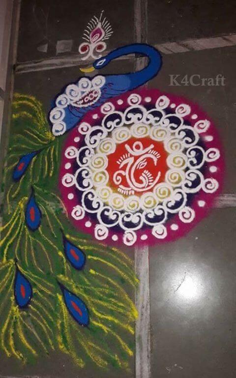 Elaborate Peacock Rangoli Design - Beautiful Rangoli Designs And Patterns For 2020