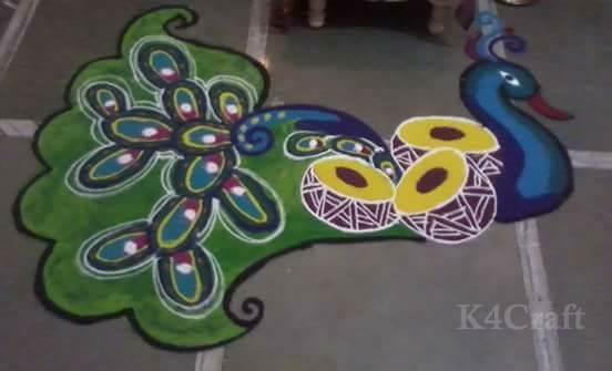 Easy to Make Peacock Rangoli Design - Beautiful Rangoli Designs And Patterns For 2020