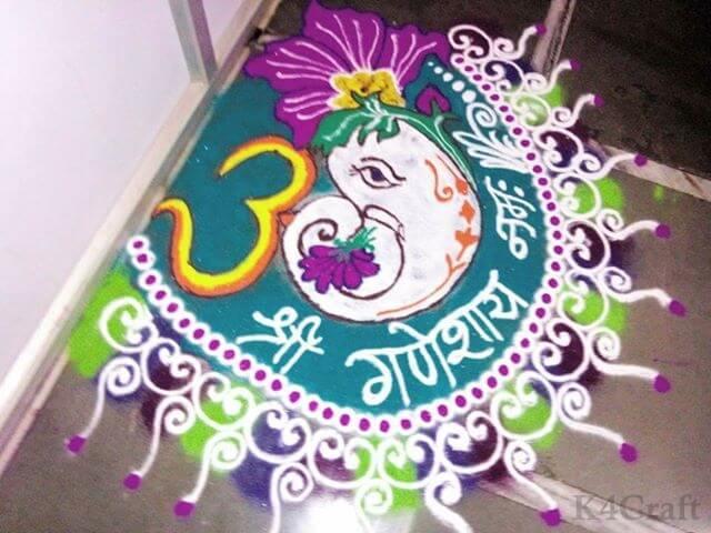 Ganpati Rangoli Design for Corner - Beautiful Rangoli Designs And Patterns For 2020
