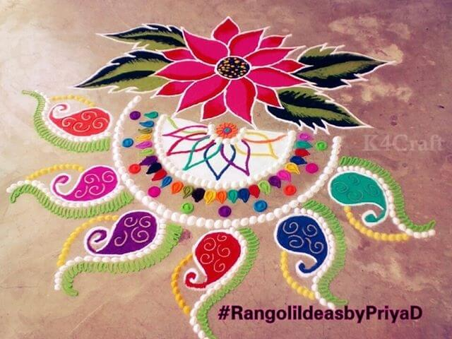 Beautiful Floral Rangoli Design - Beautiful Rangoli Designs And Patterns For 2020