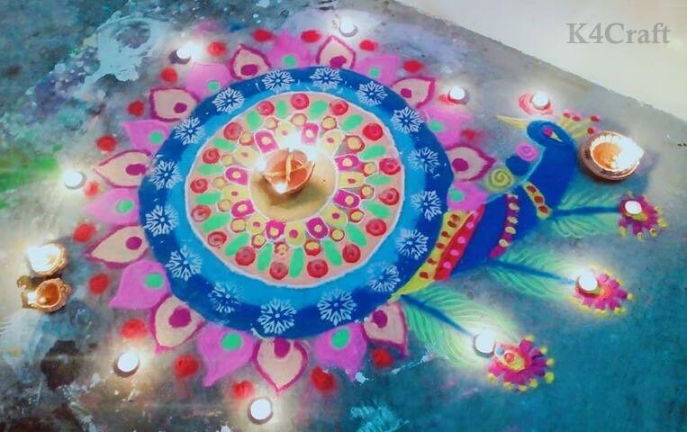 Peacock Rangoli Design - Beautiful Rangoli Designs And Patterns For 2020