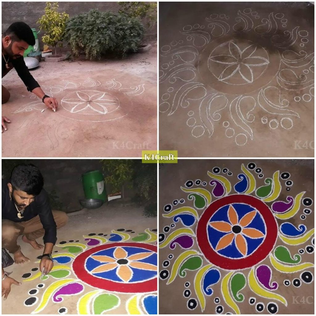 Easy to make Rangoli design step by step image tutorial- Beautiful Rangoli Designs And Patterns For 2020