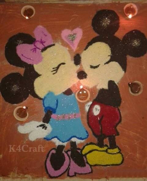 Mickey Mouse and Minnie Mouse Rangoli Design And Patterns For 2020