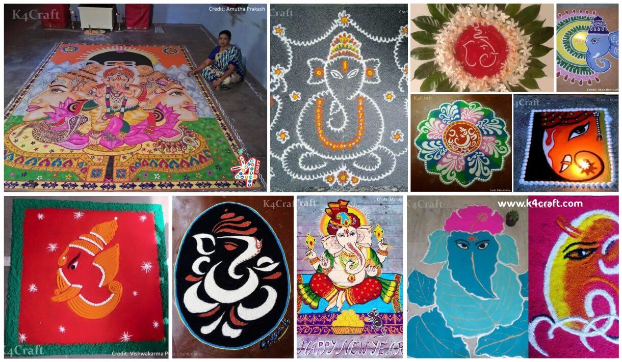 "Latest Ganesh Chaturthi Rangoli designs for 2020 How to make Quilling paper 3D ""Lord Ganesha"" at Home"