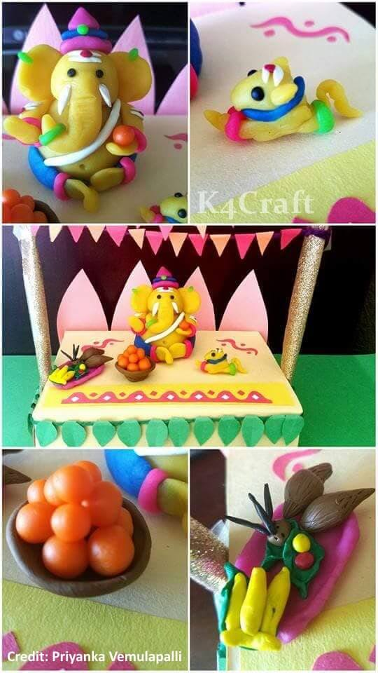 A Cute Little Ganesha using Dry Clay Easy Craft Ideas To Celebrate Ganesh Chaturthi with Kids