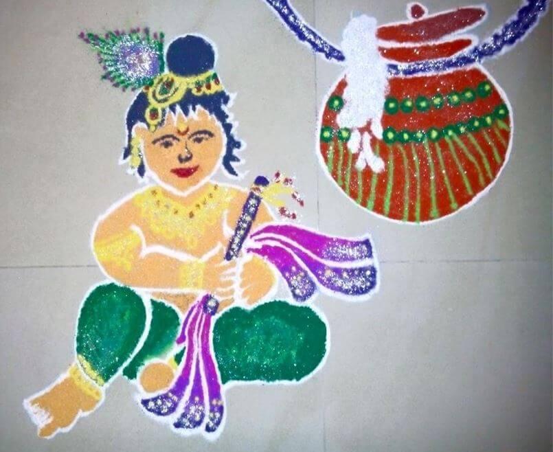 Little Krishna with Dahi Handi Rangoli Design Krishna Janmashtami Rangoli designs with colours and dots