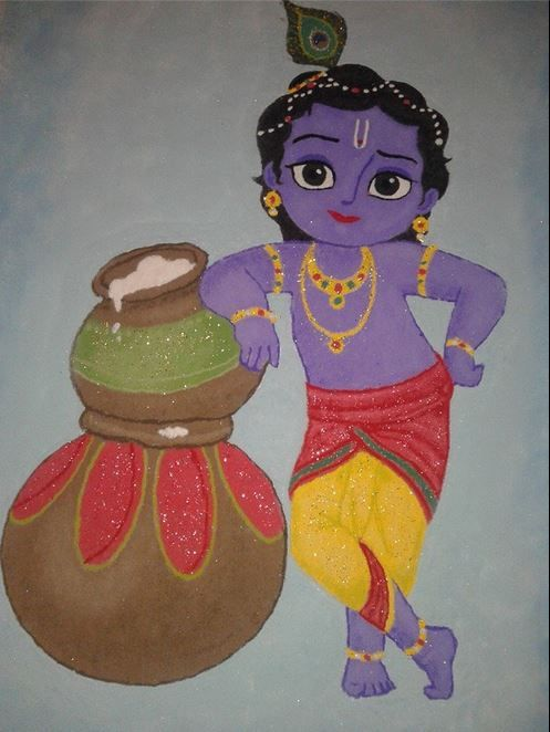 Little Krishna with glittered rangoli design Krishna Janmashtami Rangoli designs with colours and dots