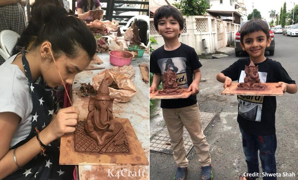 Eco-friendly Ganesha from Clay Easy Craft Ideas To Celebrate Ganesh Chaturthi with Kids