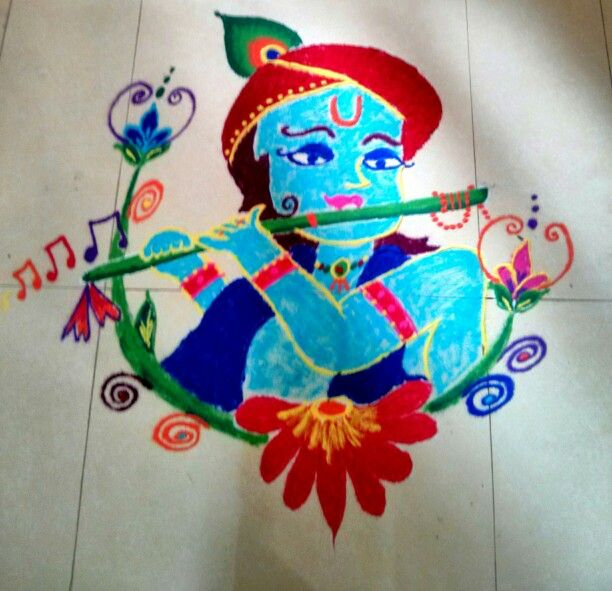 Floral patterns with Krishna Rangoli Design Krishna Janmashtami Rangoli designs with colours and dots