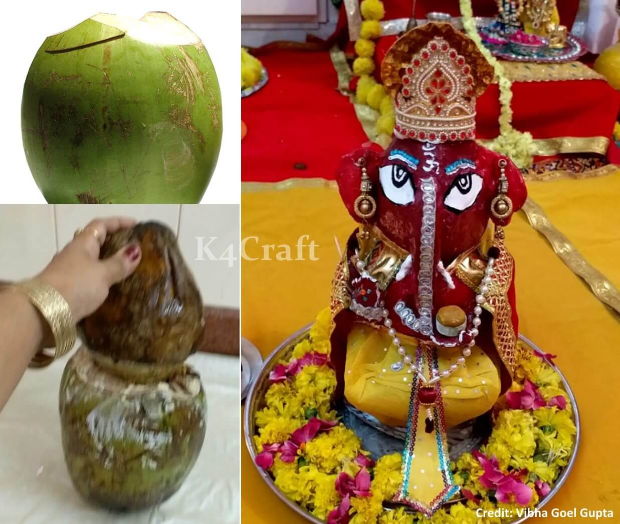Ganesh Idol by fresh Coconuts Easy Craft Ideas To Celebrate Ganesh Chaturthi with Kids