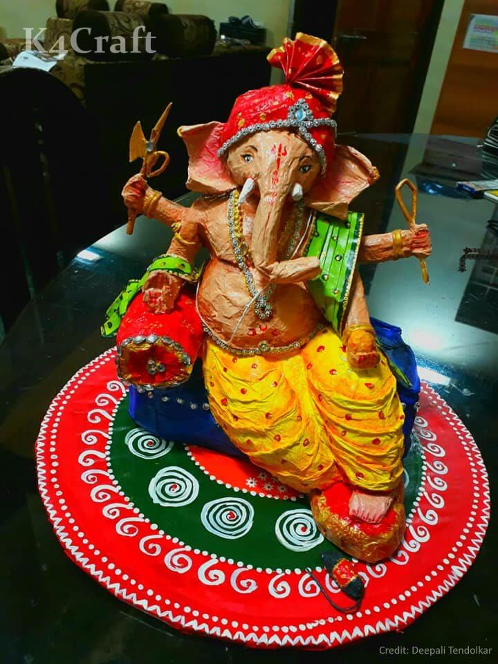 Ganesh Idol made up of Recycled Newspaper Easy Craft Ideas To Celebrate Ganesh Chaturthi with Kids