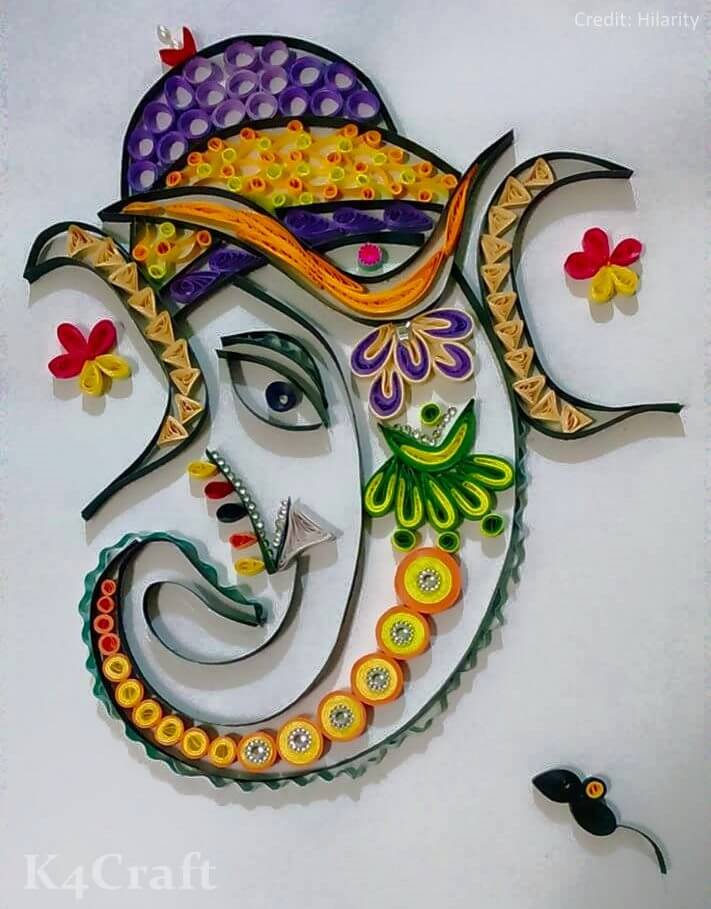Ganesh ji Quilling Art work Easy Craft Ideas To Celebrate Ganesh Chaturthi with Kids