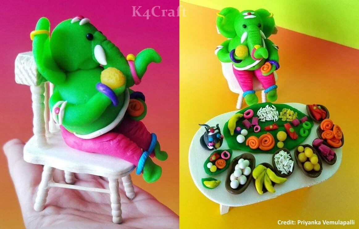Lord Ganesha with Food using Dry Clay Easy Craft Ideas To Celebrate Ganesh Chaturthi with Kids