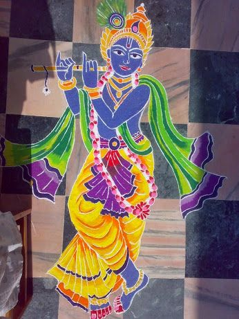 Intricately colored Kirshna rangoli design Krishna Janmashtami Rangoli designs with colours and dots