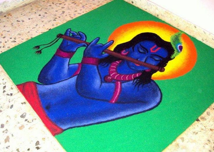 Lord Krishna Rangoli Design Krishna Janmashtami Rangoli designs with colours and dots