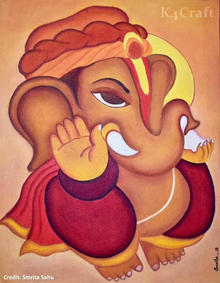 Ganesha Oil Paintings on Canvas Easy Craft Ideas To Celebrate Ganesh Chaturthi with Kids
