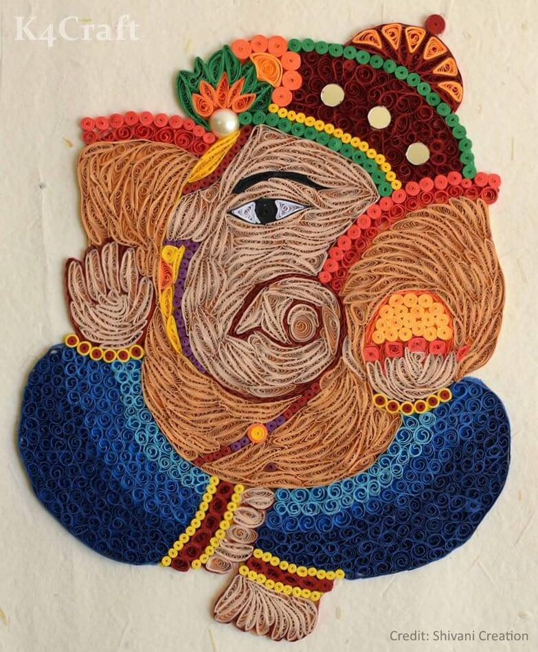 Colorful Paper Quilling Ganesha Art Easy Craft Ideas To Celebrate Ganesh Chaturthi with Kids