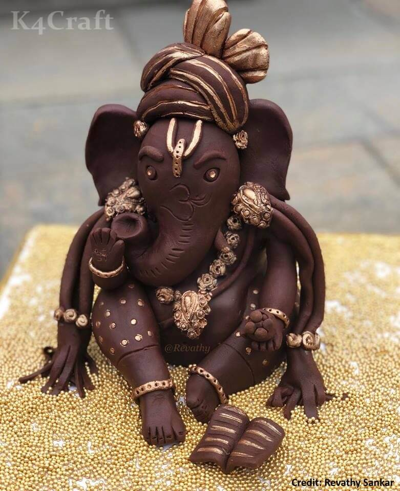 DIY Chocolate Ganesha (7'' Inch tall) Easy Craft Ideas To Celebrate Ganesh Chaturthi with Kids