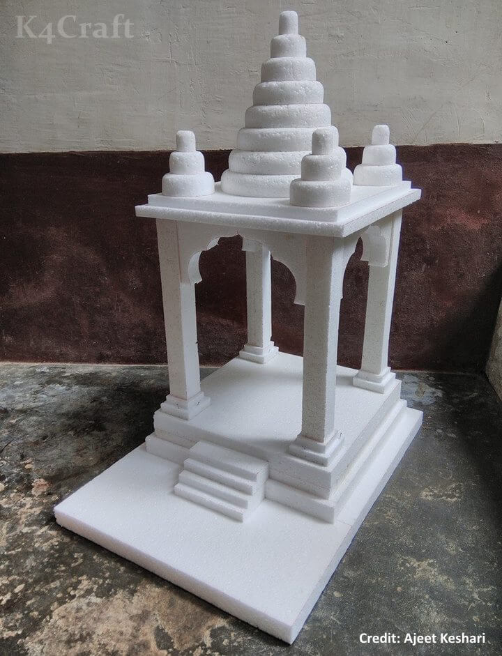 DIYThermocol Decorative Temple Easy Craft Ideas To Celebrate Ganesh Chaturthi with Kids