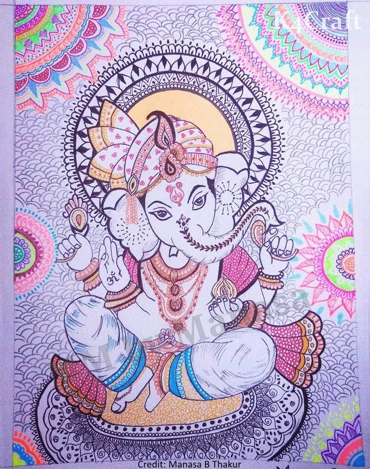 Zentangle Lord Ganesha Art Easy Craft Ideas To Celebrate Ganesh Chaturthi with Kids
