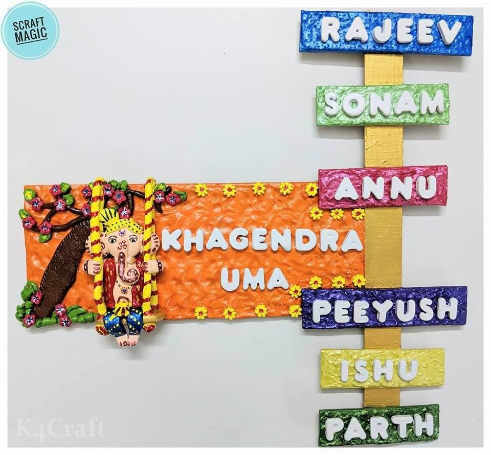 Clay made Ganesha Nameplate Easy Craft Ideas To Celebrate Ganesh Chaturthi with Kids