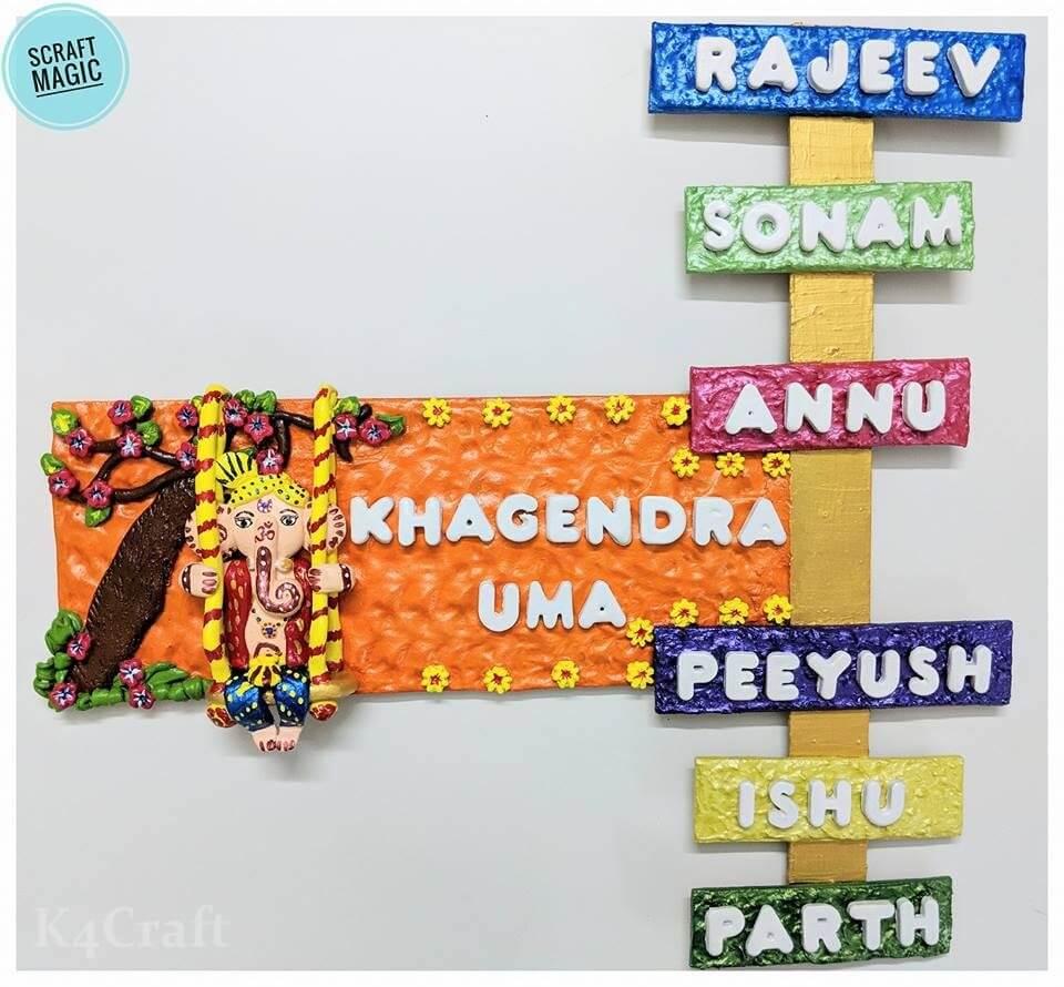 Clay made Ganesha Nameplate Easy Craft Ideas To Celebrate Ganesh Chaturthi with Kids