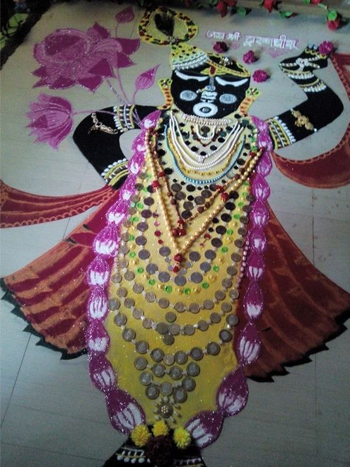 Rangoli Design of Lord Krishna Krishna Janmashtami Rangoli designs with colours and dots