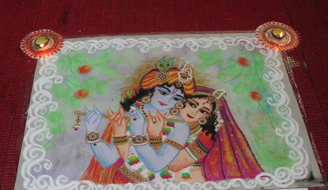 Radha Krishna amazing rangoli design Krishna Janmashtami Rangoli designs with colours and dots