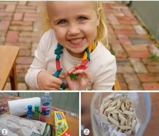 Colored Pasta Jewelry Easy Mother's Day Gifts Ideas Kids Can Make
