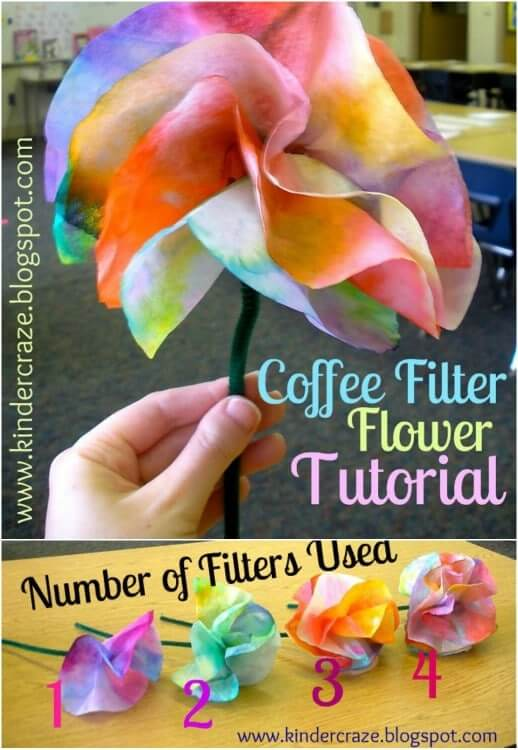 Coffee Filter Flowers Easy Mother's Day Gifts Ideas Kids Can Make