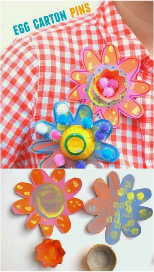 Egg Carton Pins Easy Mother's Day Gifts Ideas Kids Can Make
