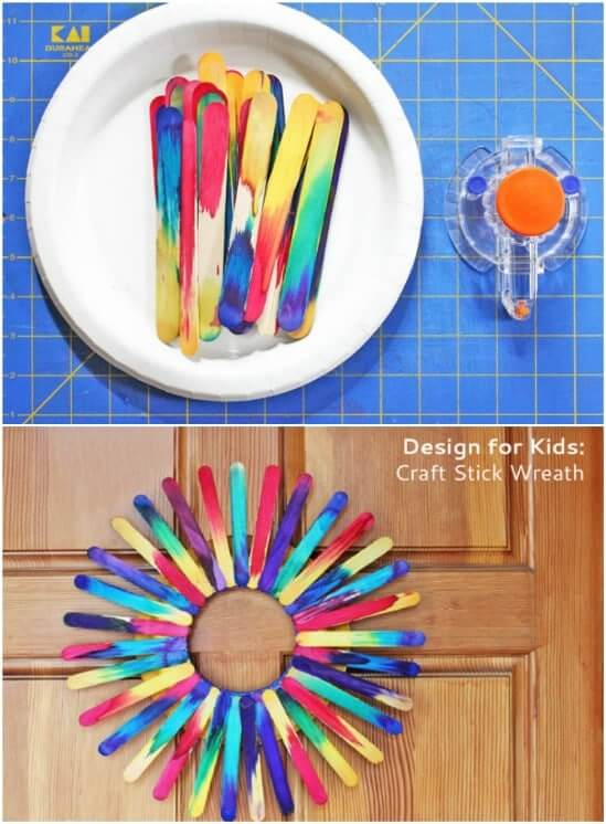 Craft Stick Wreath Easy Popsicle Stick Crafts & Activities for Kids