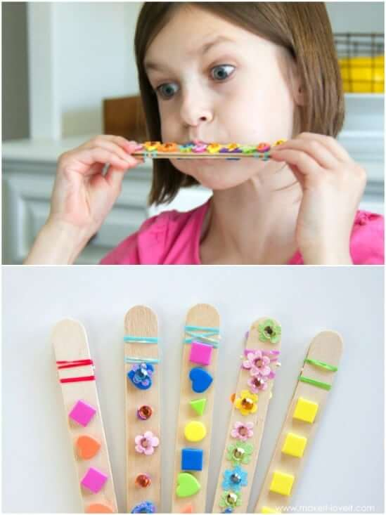 Craft Stick Harmonicas Easy Popsicle Stick Crafts & Activities for Kids